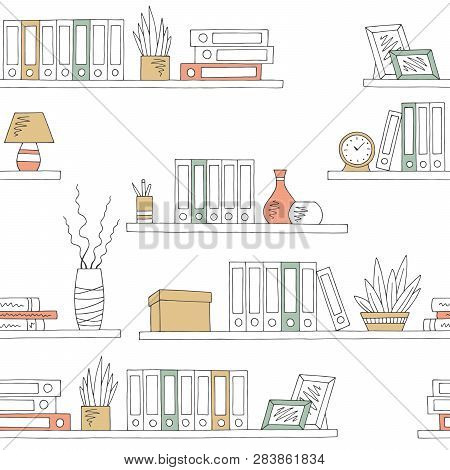 Shelves Graphic Color Seamless Pattern Background Sketch Office Illustration Vector