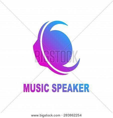 Speaker Sound Logo. Sound Speaker And Musical Logo Template. Woofer Vector Design. Subwoofer Illustr