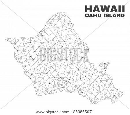 Abstract Oahu Island Map Isolated On A White Background. Triangular Mesh Model In Black Color Of Oah
