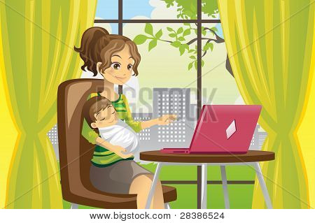 Mother And Baby Using Laptop