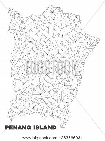 Abstract Penang Island Map Isolated On A White Background. Triangular Mesh Model In Black Color Of P