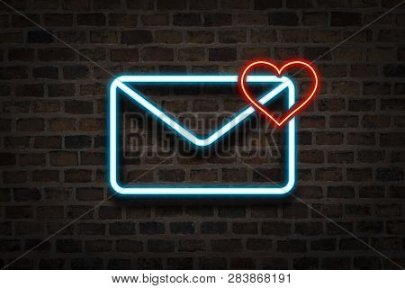 The Envelope And The Heart, Neon Sign On The Background Of The Main Wall. E-mail Concept, Letter Fro