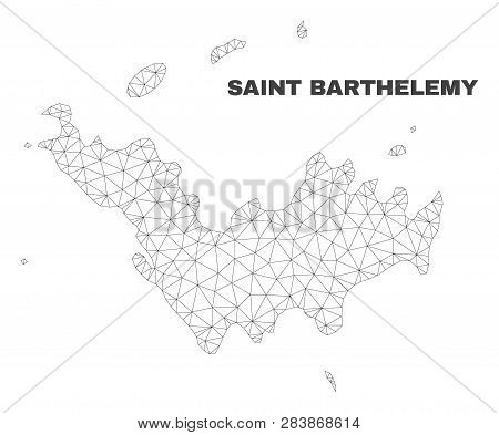 Abstract Saint Barthelemy Map Isolated On A White Background. Triangular Mesh Model In Black Color O