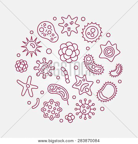 Human Microbiota Circular Vector Red Illustration In Outline Style On White Background