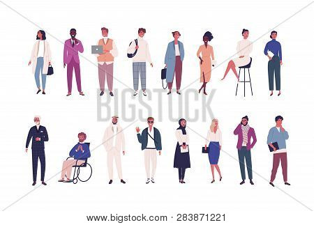 Collection Of Business People, Entrepreneurs Or Male And Female Office Workers Of Various Ethnicity