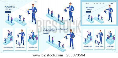 Set Template Article, Landing Page, App Design, Isometric Concept Personnel Change, The Big Boss Kee