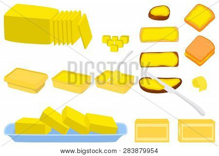 Illustration On Theme Big Colored Set Different Types Creamy Butter, Dairy Oil Various Size. Creamy