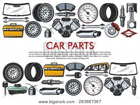 Car Repair Service, Auto Spare Parts And Tools. Vector Motor Engine, Oil Or Wrench And Windshield, L