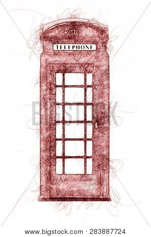 a typical London phone booth ballpoint pen doodle illustration