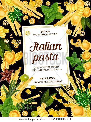 Italian Pasta Menu. Vector Rotelle And Ravioli, Gnocchi, Rigatoni, Fettucine, Linguine And Conchigli