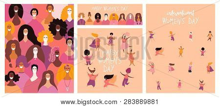 Set Of Womens Day Cards With Diverse Women And Lettering Quotes. Hand Drawn Vector Illustration. Fla