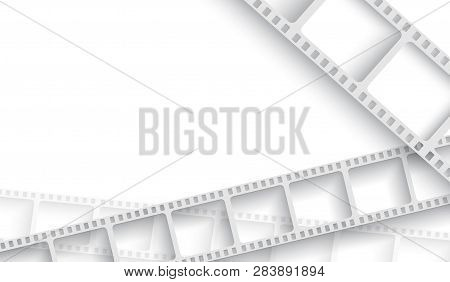 Abstract Background With White Film Strip Frame. Cinema Festival Poster Or Flyer Template For Your D