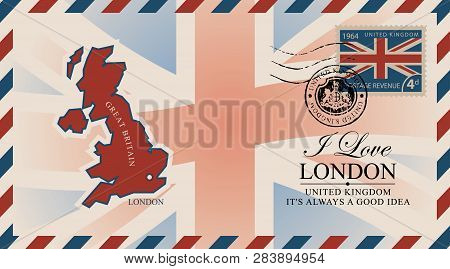 Vector Postcard Or Envelope With Map Of Great Britain, Uk Flag And Inscription I Love London. Retro