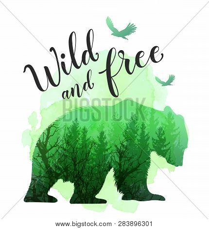 Green Silhouette Of A Wild Bear, Tree And Calligraphy. Wild Life In Nature. Vector Illustration With