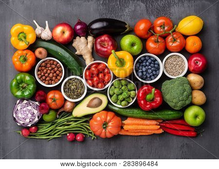 Healthy Eating Ingredients: Fresh Vegetables, Fruits And Superfood. Nutrition, Diet, Vegan Food Conc