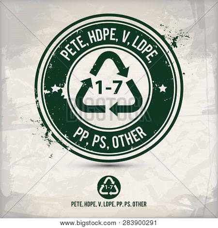Alternative Pete, Hdpe, V, Ldpe, Pp, Ps, Other Stamp Containing: Two Environmentally Sound Eco Motif
