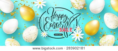 Happy Easter Sale Banner.beautiful Background With Golden And White Eggs, Chamomiles And Serpentine.