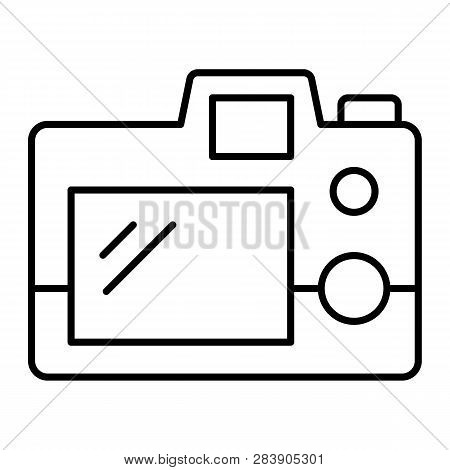 Photo Cameras Back View Thin Line Icon. Back Of Camera Vector Illustration Isolated On White. Camera