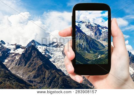 Travel Concept - Tourist Photographs Of Mountain Valley Near Dombay Resort Village In Teberda Nature