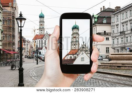 Travel Concept - Tourist Photographs Of Towers Of St Ulrich And St Afra Church In Augsburg City In G