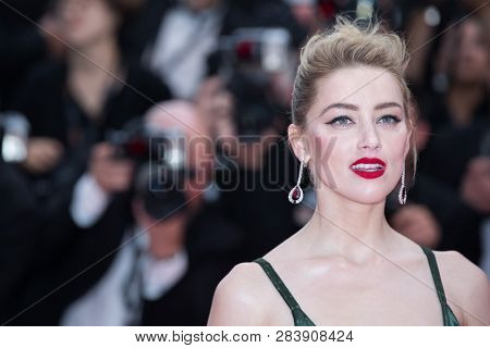 CANNES, FRANCE - MAY 10: Amber Heard attends the screening of Sorry Angel during the 71st  Cannes Film Festival at Palais des Festivals on May 10, 2018 in Cannes, France.