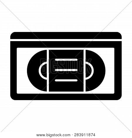 Videotape Solid Icon. Vhs Tape Vector Illustration Isolated On White. Retro Video Cassette Glyph Sty
