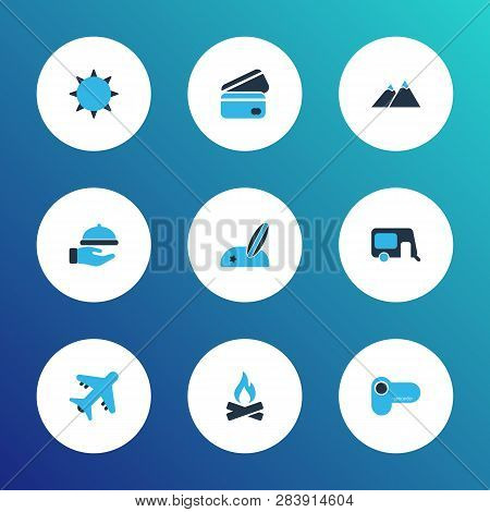 Trip Icons Colored Set With The Mountains, House On Wheels, Beach With Surf And Other Video Camera E