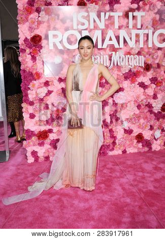 Constance Wu at the Los Angeles premiere of 'Isn't It Romantic' held at the Ace Hotel Theatre in Los Angeles, USA on February 11, 2019.