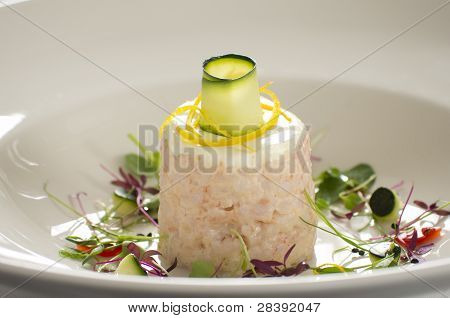 Gourmet Prawn Dish In Restaurant