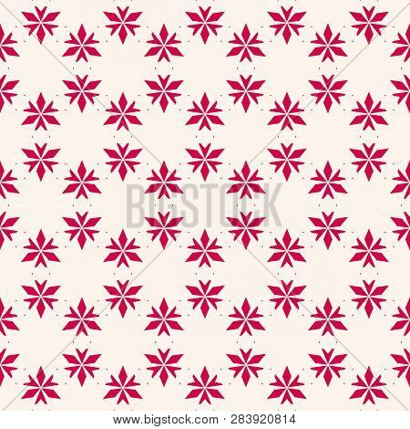 Vector Floral Seamless Pattern. Elegant Christmas Background. Red And White Geometric Texture With S