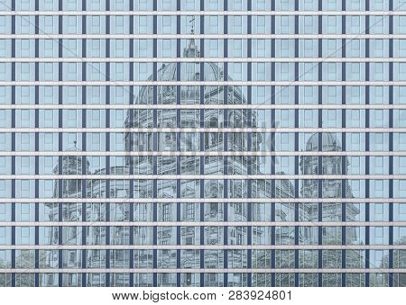 Architectural Pattern, Window Facade With The Mirroring Berliner Dom