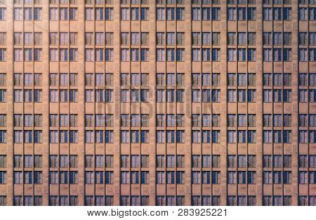 Architectural Pattern, Window Facade With Reflected Light In The Evening