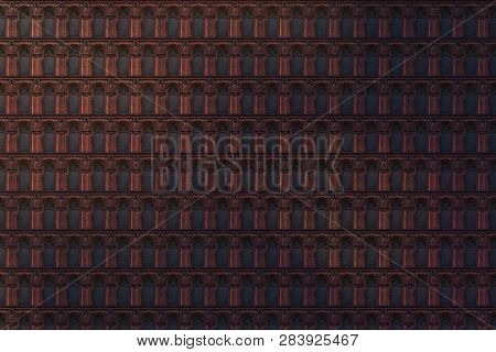 Architectural Pattern, Dark Texture Made Of Memorial Plates