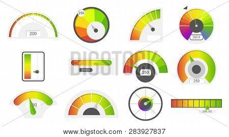Speedometer Icons. Credit Score Indicators. Speedometer Goods Gauge Rating Meter. Level Indicator, C