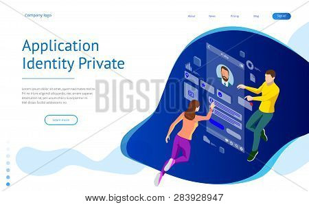 Isometric Personal Data Information App, Identity Private Concept. Digital Data Secure Banner. Biome