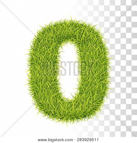 0. Vector Number Zero Illustration. Fresh Green Grass Realistic Texture