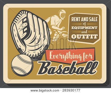 Baseball Sport Retro Poster, Vector. Glove With Ball And Catcher Player In Helmet, Championship Or T