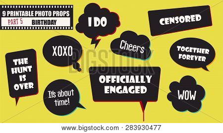 Wedding Or Engagement Party Photo Booth Props Set Of Vector Accessories. Illustration With Funny Wed