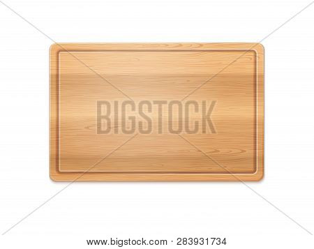 Vector Photo Realistic Rectangle Wooden Cutting Board Isolated On White