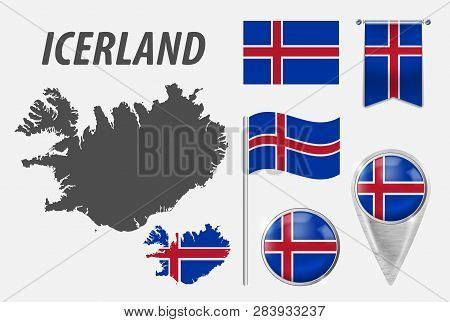 Iceland. Collection Of Symbols In Colors National Flag On Various Objects Isolated On White Backgrou