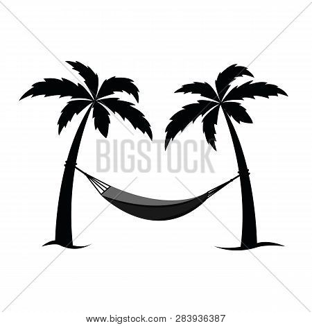 Hammock Between Palms Pictogram Vector Illustration Eps10