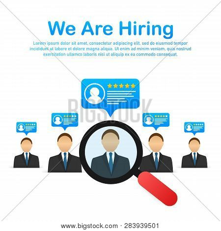 We Are Hiring. Recruitment Concept. Hire Workers, Choice Employers Search Team For Job. Resume Icon.