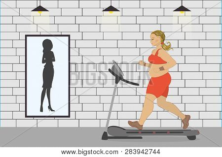 Fat Girl On A Treadmill And Silhouette Of A Thin Woman In A Mirr