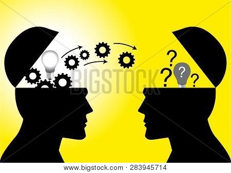 Knowledge Or Ideas Sharing Between Two People Head, Transferring Knowledge, Innovation, Brain Stormi