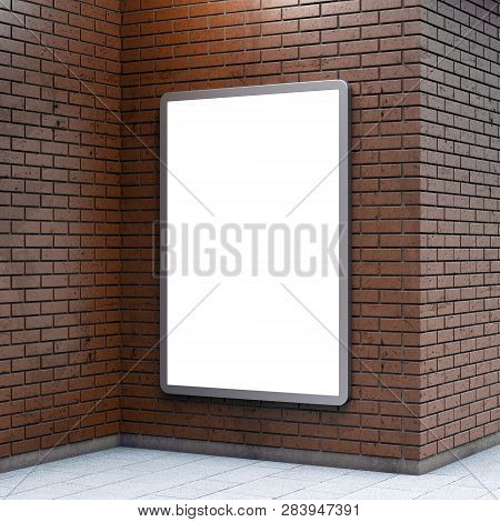 Blank Billboard Lightboxe Or Urban Media Lcd Screen On Brown Brick Wall. Empty Street Advertising Si