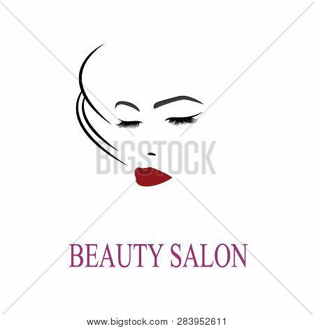 Vector Illustration, Depicting The Face Of A Beautiful Woman With Long Ringlets.