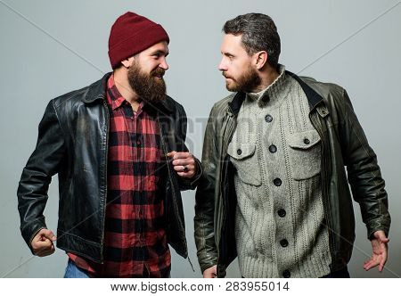 Friendship Of Brutal Guys. Real Friendship Mature Friends. Male Friendship Concept. Brutal Bearded M