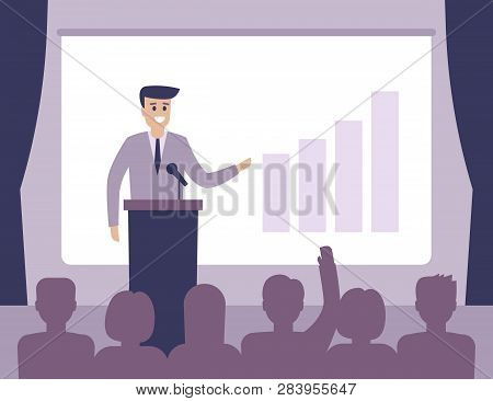 Speaker View Diagram On Board, Business Presentation In Hall. Workshop, Politician Or Motivation Con