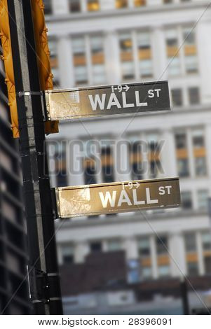 Focus on Wall Street Road Sign in New York City