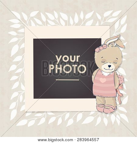 d2603601b1db Design Photo Frame On Nice Background. Decorative Template For Baby